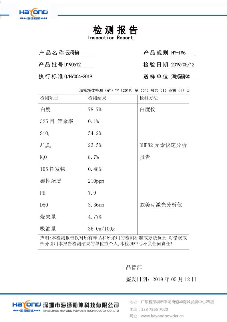 绢云母粉HY-TM6检测报告