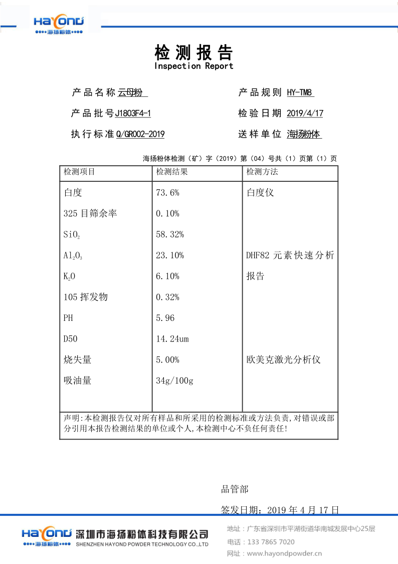 绢云母粉HY-TM8检测报告